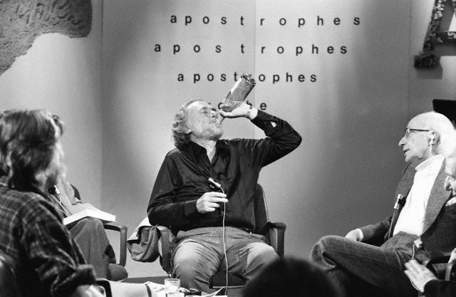 Charles Bukowski Drinking on the Set of Television Show